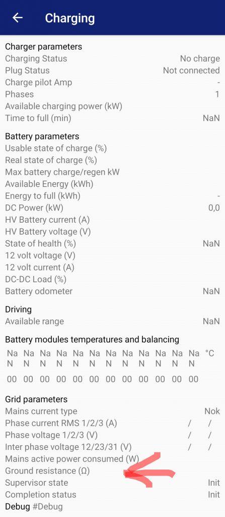 Pagina CanZE Charging con evidenziata riga per valore Ground